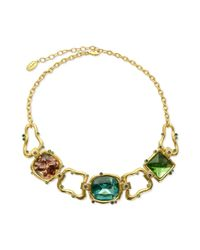 T Tahari | Metallic 14k Goldplated Multicolor Stone Statement Necklace | Lyst