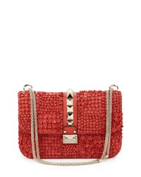 Valentino - Pink Rockstud Appliqué Shoulder Bag - Lyst