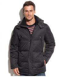 Perry Ellis - Black Printed Wellon-Fill Hooded Parka for Men - Lyst