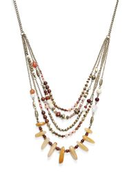 Cara | Brown Beaded Layered Bib Necklace | Lyst