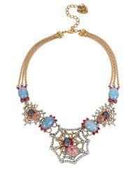 Betsey Johnson | Blue Spiderweb Statement Necklace | Lyst