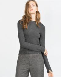 Zara | Gray Sweater With Embellished Neckline | Lyst