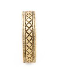 House of Harlow 1960 | Metallic Shakti Engraved Bangle Bracelet - Gold/smokey Grey | Lyst