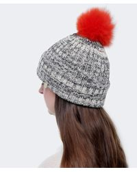 Yves Salomon | Gray Salt And Pepper Fur Bobble Beanie Hat | Lyst