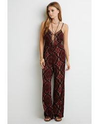 f686145167f Lyst - Forever 21 Beaded Ornate Print Jumpsuit in Red