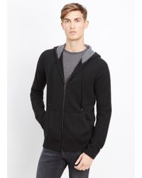 Vince - Black Cashmere Hoodie With Raised Seam Detail for Men - Lyst