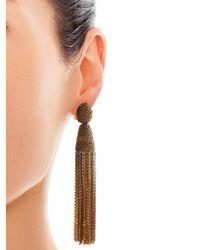 Oscar de la Renta - Metallic Chain Tassel Earrings - Lyst