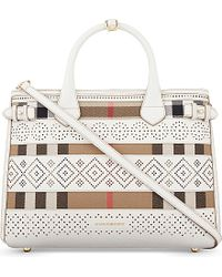 Burberry - Natural Banner Medium Leather Tote - Lyst