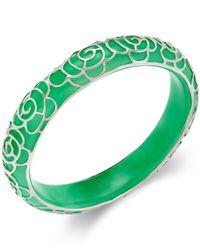 Macy's | Green Jade Flower Overlay Bangle Bracelet (210 Ct. T.w.) In Sterling Silver | Lyst