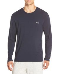 BOSS - Blue Stretch Modal Long Sleeve T-shirt for Men - Lyst