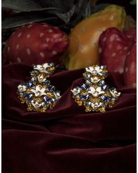 Dolce & Gabbana - Metallic Exclusive - Floral Pendant Earrings With Multicolor Crystals - Lyst
