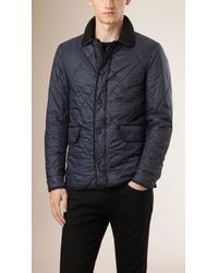 Burberry - Blue Diamond Quilted Jacket for Men - Lyst