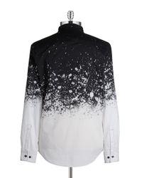 Calvin Klein | Black Splatter-print Sportshirt for Men | Lyst