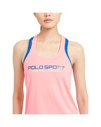 Polo Ralph Lauren - Pink Jersey Graphic Racerback Tank - Lyst