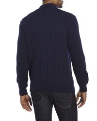 Izod - Blue Quarter-Zip Cable Sweater for Men - Lyst