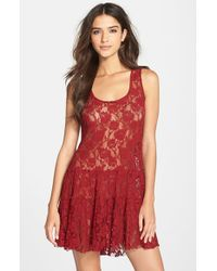 Free People | Red 'emily' Lace Slip | Lyst