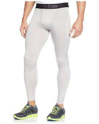 Adidas | Gray Climalite Performance Heathered Compression Leggings for Men | Lyst
