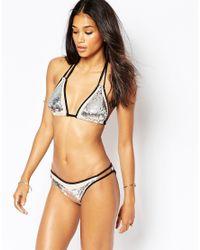 ASOS   Gray Fuller Bust Sequin Embellished Bikini Top Dd-g   Lyst