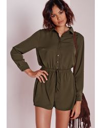 Missguided | Natural Drawstring Waist Shirt Playsuit Khaki | Lyst