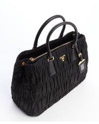 Prada - Black Quilted Nylon Leather Accent Convertible Top Handle Tote - Lyst