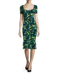 Zac Zac Posen - Green Wren Floral-print Sheath Dress - Lyst
