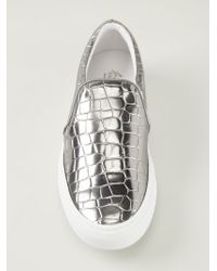Joshua Sanders - Gray Metallic Textured Slip-On Sneakers for Men - Lyst