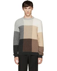 Paul Smith - Gray Multicolor Check Knit Sweater for Men - Lyst