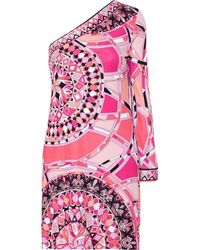 Emilio Pucci - Pink Abstract Print V-neck Dress - Lyst