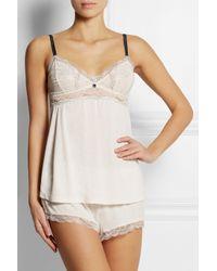 Eberjey - White Joey Lace-Trimmed Jersey Pajama Shorts - Lyst