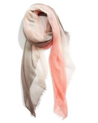 Halogen - Gray Ombre Cashmere Twill Wrap - Coral - Lyst