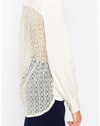 Closet - Natural Long Sleeve Blouse With Lace Back - Lyst