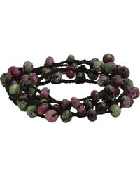 Feathered Soul - Multicolor Ruby Zoisite Bead & Braided Silk Wrap Bracelet for Men - Lyst
