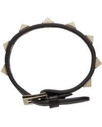 Valentino - Black Leather Rockstud Bracelet - Lyst