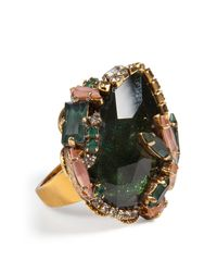 Erickson Beamon - Queen Bee Ear Cocktail Ring In Green Chinoiserie - Multicolor - Lyst