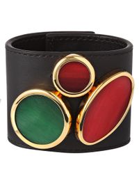 Marni   Black Leather Circle Cuff Bracelet   Lyst