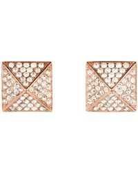 Vince Camuto - Pink Rose Gold Pave Pyramid Studs - Lyst