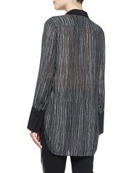 Vince - Black Wavy Striped Silk Blouse - Lyst