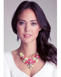 Bebe | Pink Floral Statement Necklace | Lyst