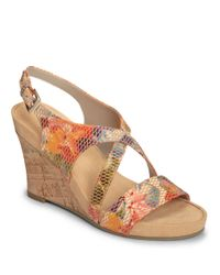 Aerosoles | Orange Plushed Together Faux Leather Wedge Sandals | Lyst