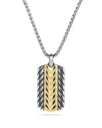 David Yurman | Metallic Modern Chevron Tag Necklace With Gold for Men | Lyst