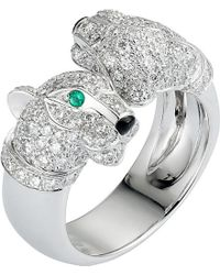 Cartier | Green Panthère 18ct White-gold, Diamond, Onyx And Emerald Ring | Lyst