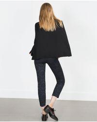 Zara | Blue Jacquard Trousers | Lyst