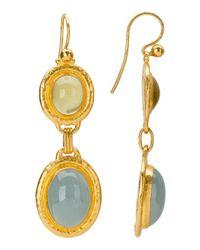Gurhan | Metallic Laguna 27.75 Ct 24k Yellow Gold Yellow Beryl & Aquamarine Earrings | Lyst