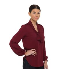 Armani Jeans | Purple Silk Blend Blouse with Bow Detail | Lyst