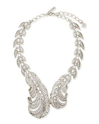 Oscar de la Renta - Metallic Swarovski Crystal Feather Necklace - Lyst