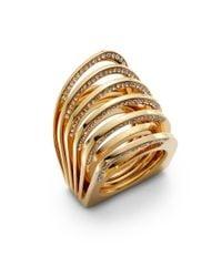 Vita Fede | Metallic Futuro Pavã© Crystal Cut Ring/goldtone | Lyst
