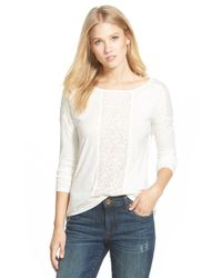 Caslon | White Lace Inset Long Sleeve Tee | Lyst
