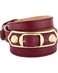 Balenciaga | Red Metallic Edge Double Tour Wrap Bracelet | Lyst