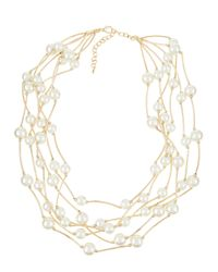 Kenneth Jay Lane | Metallic Golden Pearly Layered Multi-strand Necklace | Lyst
