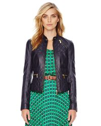 Michael Kors | Blue Michael Quilted Leather Jacket | Lyst